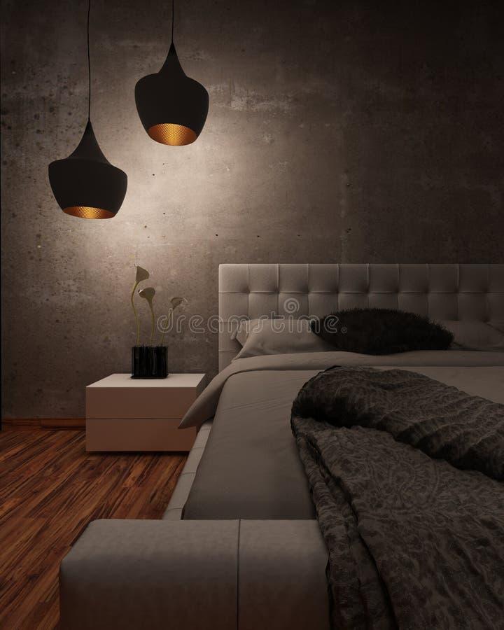 Säng för vitt läder som är upplyst på natten royaltyfri illustrationer