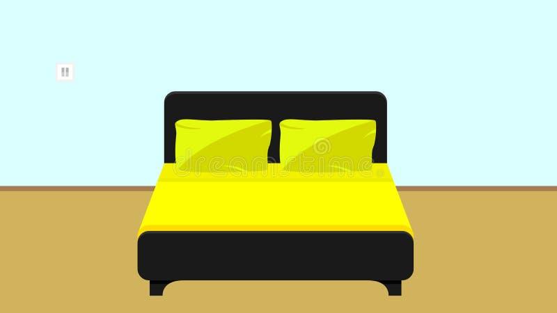 Säng i en plan design vektor illustrationer