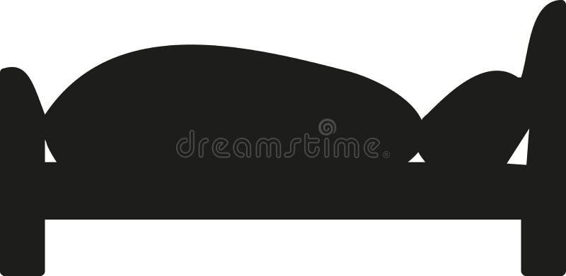 Säng som sover symbolen stock illustrationer