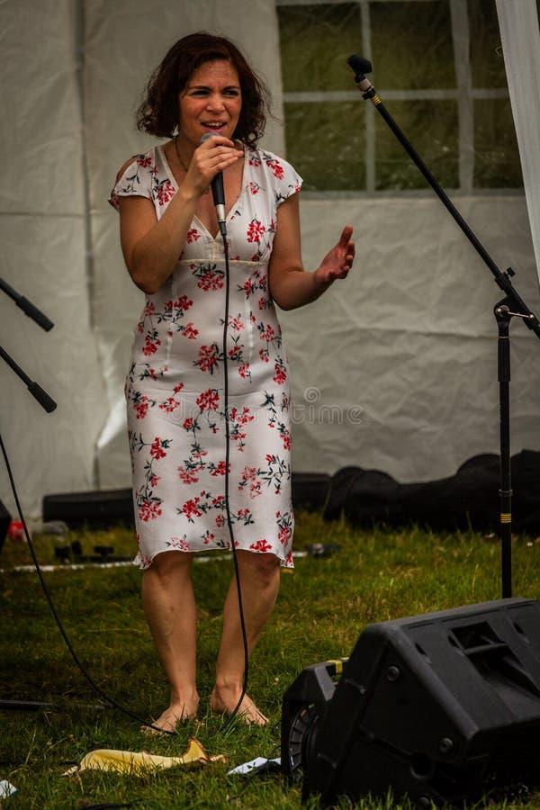 Sänger an einem lokalen Festival stockfotografie