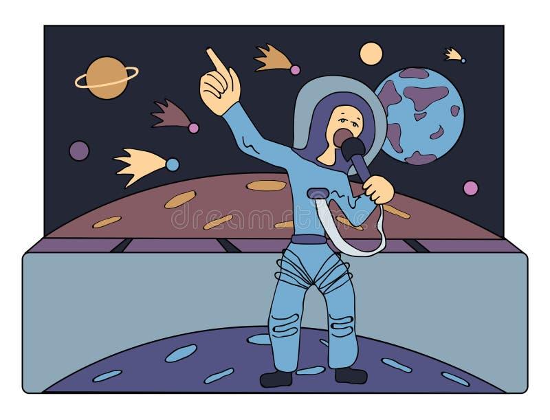 Sänger im Raum vor Kometen und Planeten Führer über dem Univers Besetzungen der Zukunft : stock abbildung