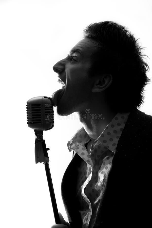 Sänger mit Mikrofon lizenzfreies stockfoto