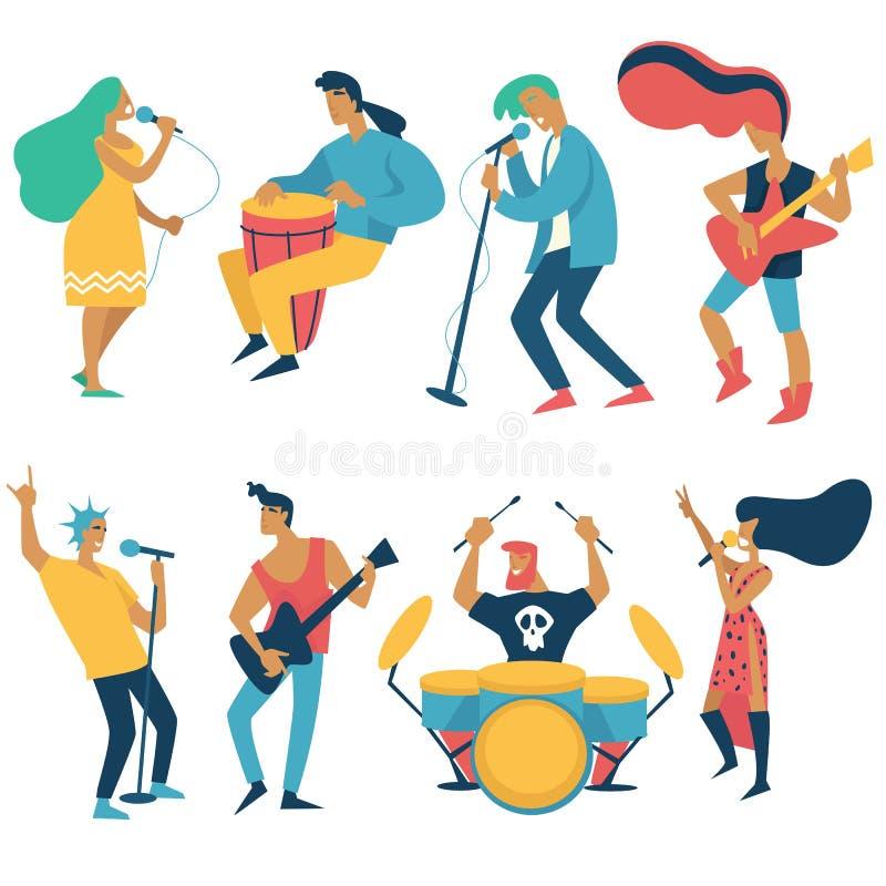 Sänger und Musiker Rockkonzert und lokalisierte Charaktere der Volksmusik lizenzfreie abbildung