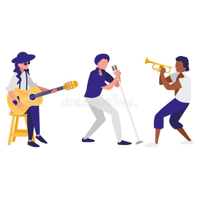 Sänger und Musiker versehen Charaktere mit einem Band stock abbildung