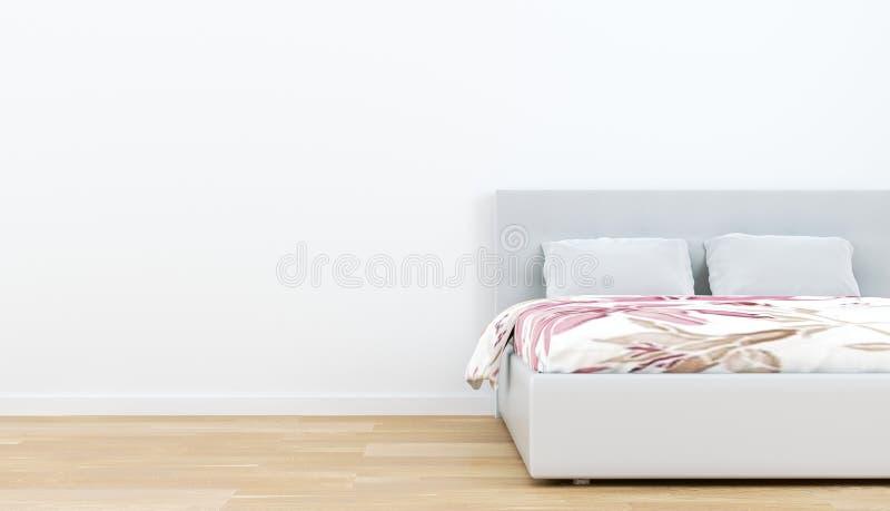 Sängruminre - trägolv och tom vit väggbakgrund framf?rande 3d royaltyfri illustrationer