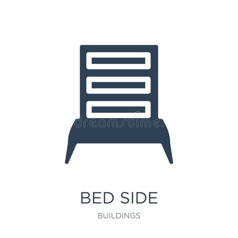 sängsidosymbol i moderiktig designstil Sängsidosymbol som isoleras på vit bakgrund lägenhet för symbol för sängsidovektor enkel o vektor illustrationer