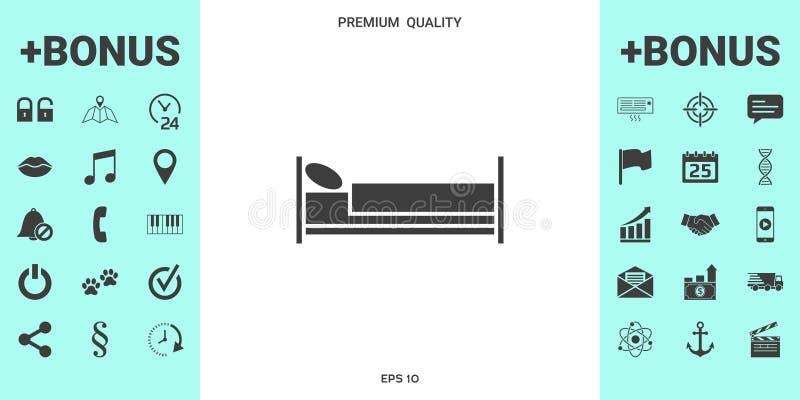 Sängsymbolsymbol stock illustrationer