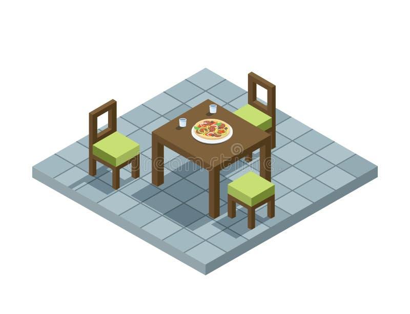 Sänker den isometriska illustrationen för vektorn av kökmöblemang, 3d den hem- beståndsdelen för designen vektor illustrationer