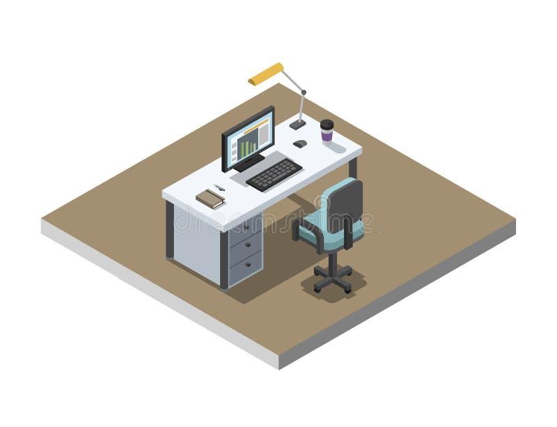 Sänker den isometriska illustrationen för vektorn av kontorsarbetsplatsen, 3d inredesign royaltyfri illustrationer