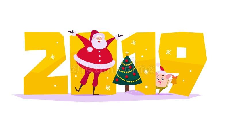 Sänker glad jul för vektor illustrationen med 2019 nummer, det dekorerade xmas-granträdet, lyckliga Santa Claus, svinälva i santa vektor illustrationer