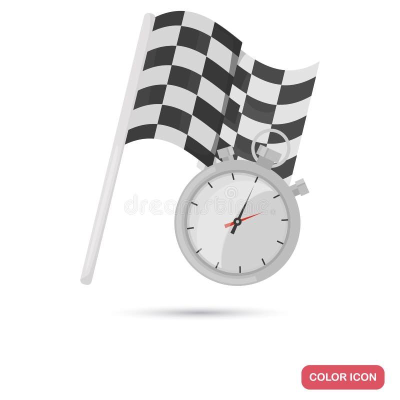Sänker tävlings- flagga- och stoppurfärg för fullföljande symbolen vektor illustrationer