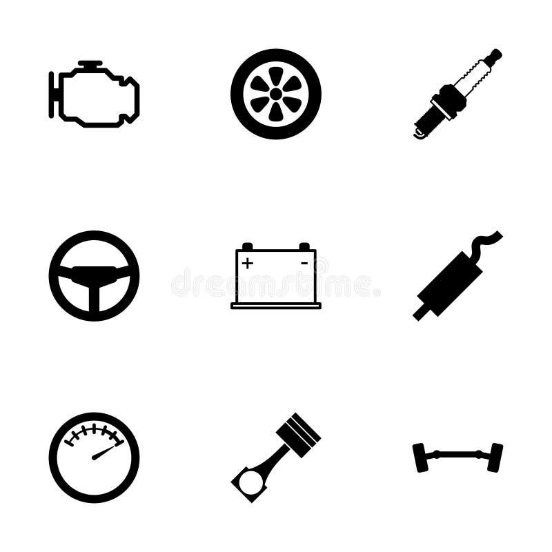 Särar den svarta bilen för vektorn symbolsuppsättningen stock illustrationer