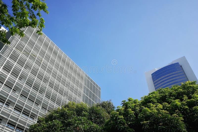 Särskiljande byggnader där är en bakgrund för blå himmel I en frodig och grön atmosfär som omges av träd från trädgården som gör  arkivbild