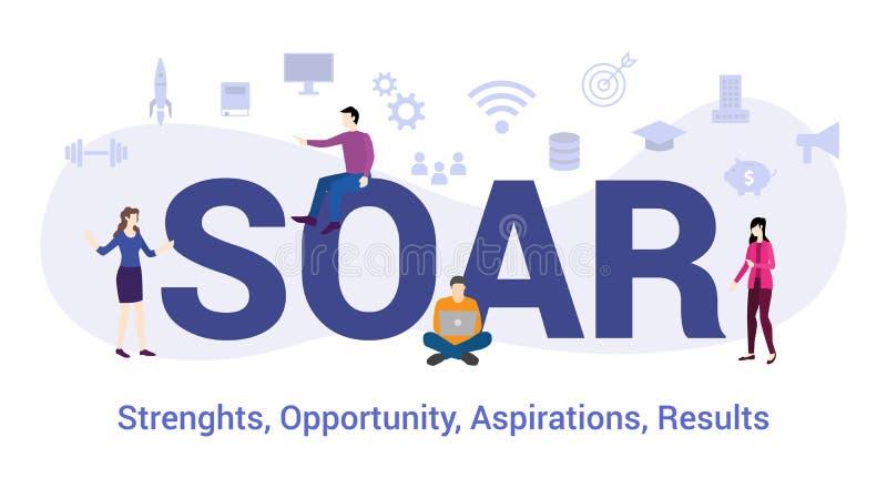 Särtige Stärken Opportunitätsbestrebungen Ergebnis Konzept mit großen Worten oder Text und Team Menschen mit modernem Flachstil - lizenzfreie abbildung