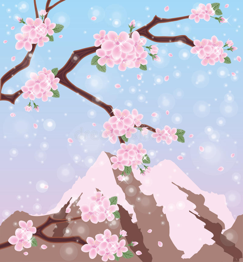 Säsong sakura Mount Fuji stock illustrationer