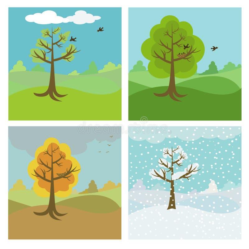 4 säsonger royaltyfri illustrationer
