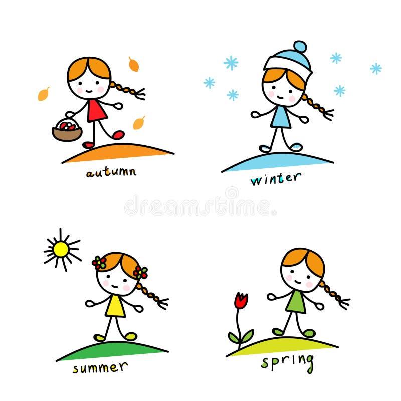 säsonger En flicka med en korg och en kista, i en vinterhatt och snöflingor, med en sol och en tulpan stock illustrationer