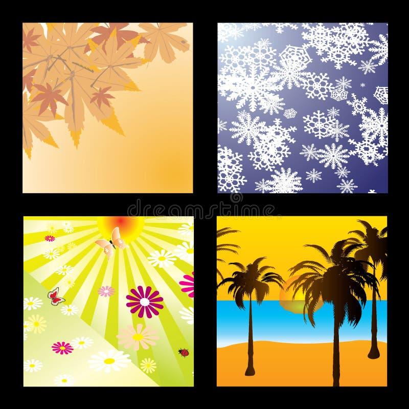 säsongfyrkanter vektor illustrationer