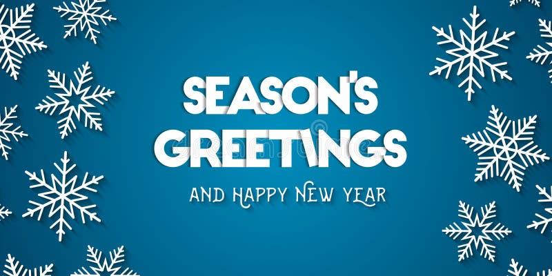 Säsongs kort för hälsning för hälsningar och för lyckligt nytt år vektor illustrationer
