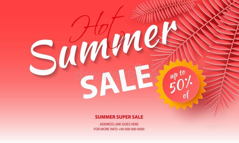 Säsongsbetonad försäljningsbakgrund för baner, rosa palmblad på en ljus bakgrund Mall f?r reklambladet, inbjudan, affisch stock illustrationer