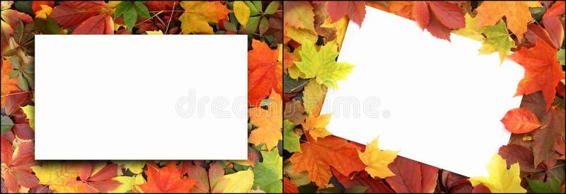 Säsongsbetonad höstbakgrund av färgrika sidor stock illustrationer