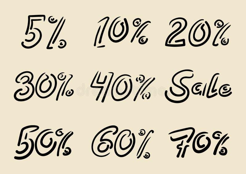 Säsongsbetonade försäljningsklotterinskrifter Handskriven bokstäver av lett vektor illustrationer
