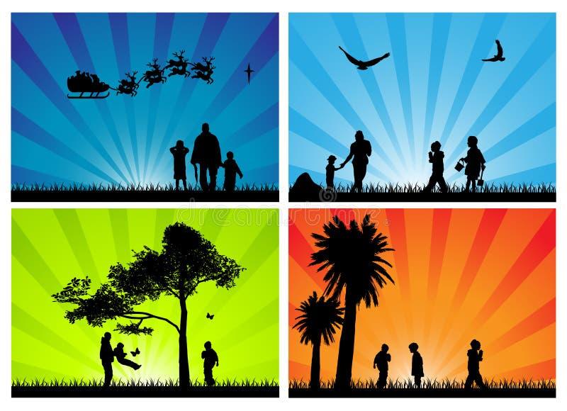 säsongsbetonade silhouettes för familj stock illustrationer