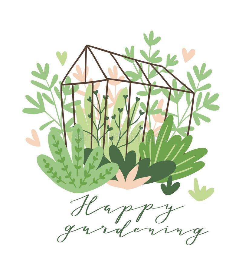 Säsongsbetonat hälsningkort för gullig vektor - att växa blommar och växter i växthuset med ` för arbeta i trädgården för text` l royaltyfri illustrationer