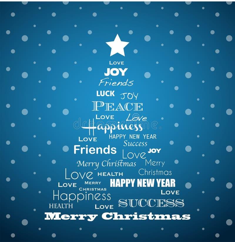 Säsongsbetonat träd för jul mycket av hälsningar vektor illustrationer