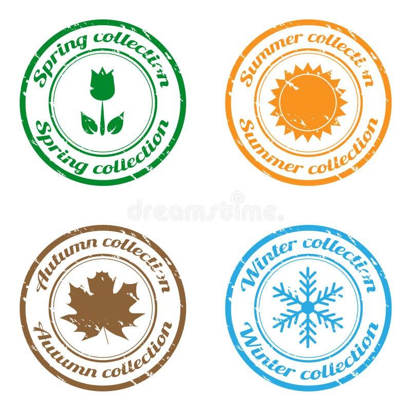 säsongstämplar vektor illustrationer
