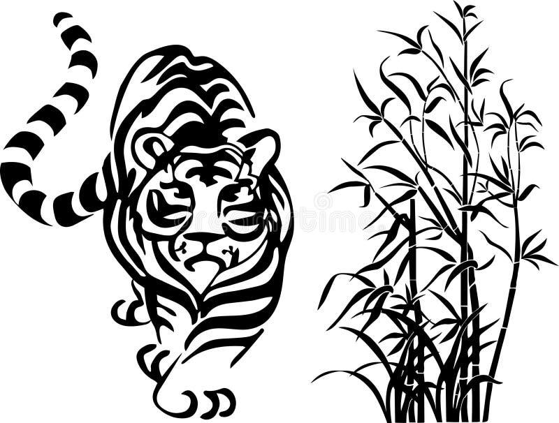 Sätt fast tiger och bambu svarta former på en genomskinlig bakgrund royaltyfria bilder
