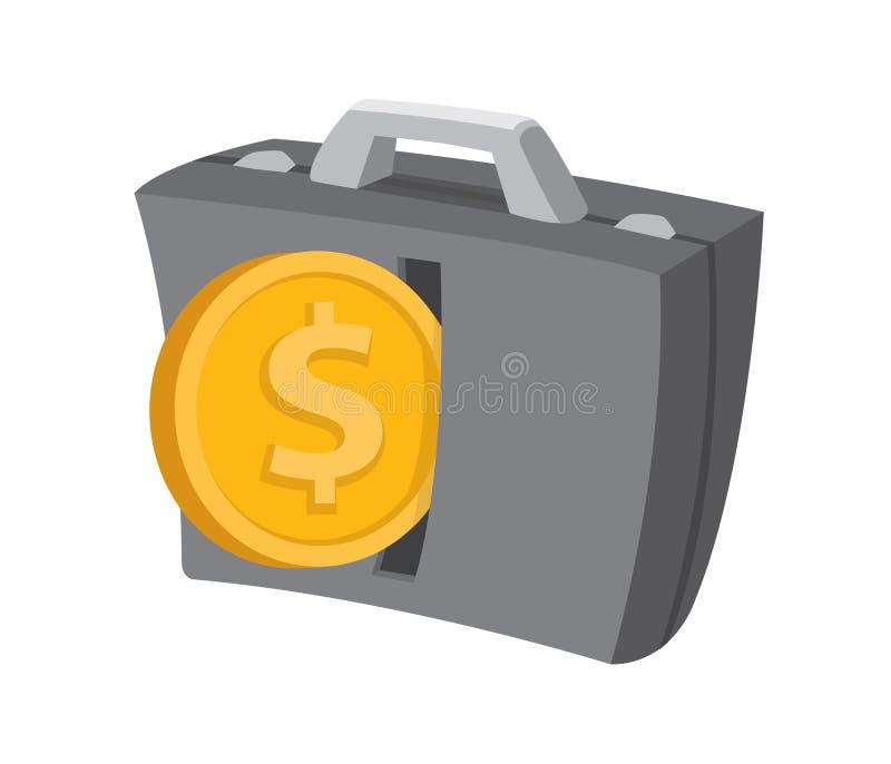 Sätt in myntet in i affärsportföljen vektor illustrationer