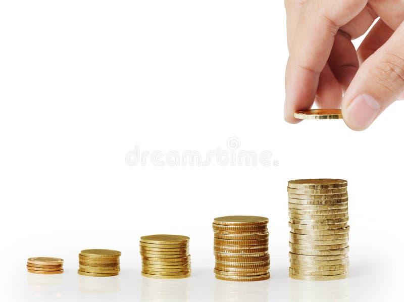 Sätt myntet till pengartrappuppgången royaltyfri bild