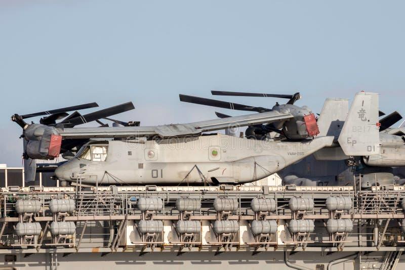 Sätta en klocka på flygplan för rotoren för Boeing MV-22 fiskgjuselutande från Förenta staterna Marine Corps royaltyfria bilder