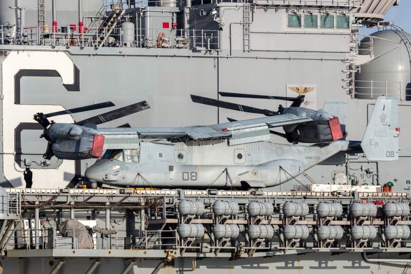 Sätta en klocka på flygplan för rotoren för Boeing MV-22 fiskgjuselutande från Förenta staterna Marine Corps arkivfoto