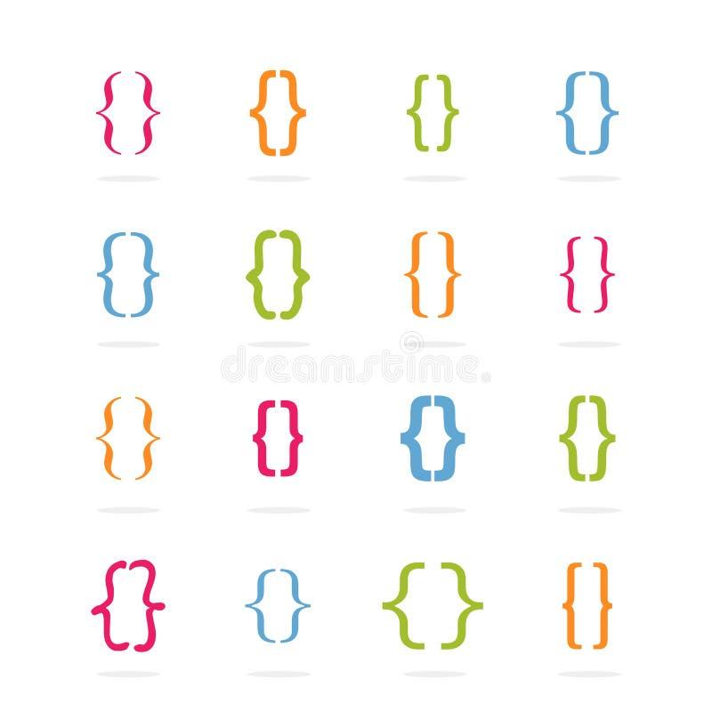 Sätta inom parantes lockigt Ställ in av konsolform med olika färger vektor vektor illustrationer