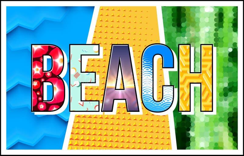 Sätta på land bokstäver med banret för collage för temat för sommarsemestern det postmoderna eller skriv ut tecknet royaltyfri illustrationer