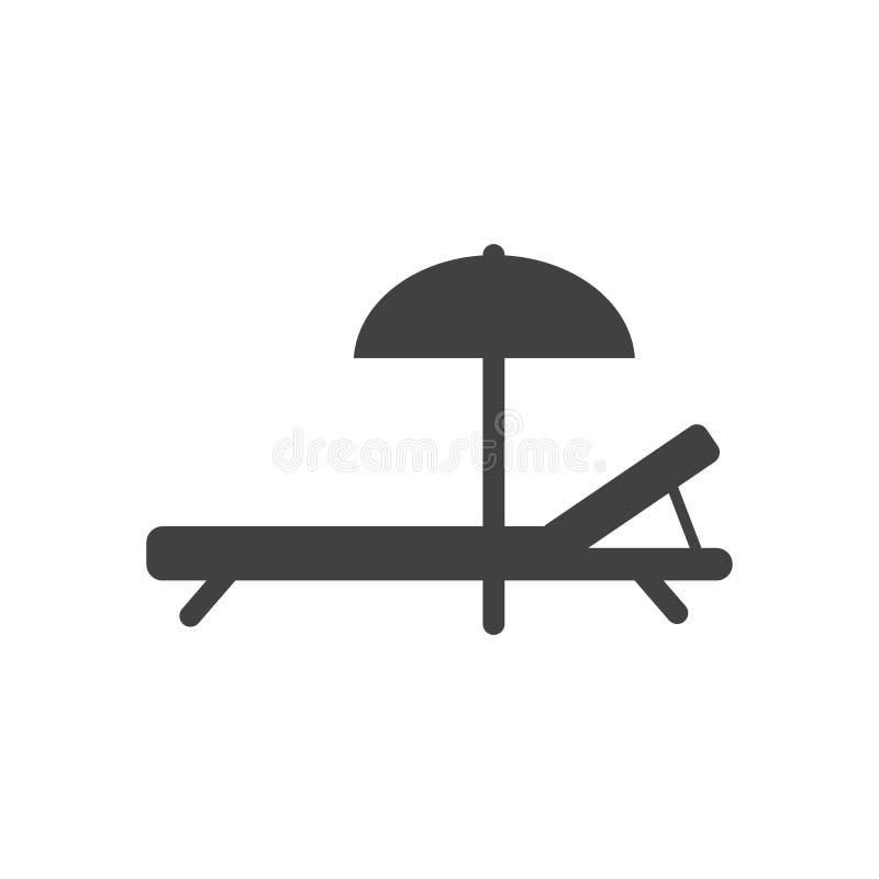 Sätta på land den Chaise Longue symbolen, det fyllda plana tecknet, den fasta skårapictogramen, vektorillustration royaltyfri illustrationer