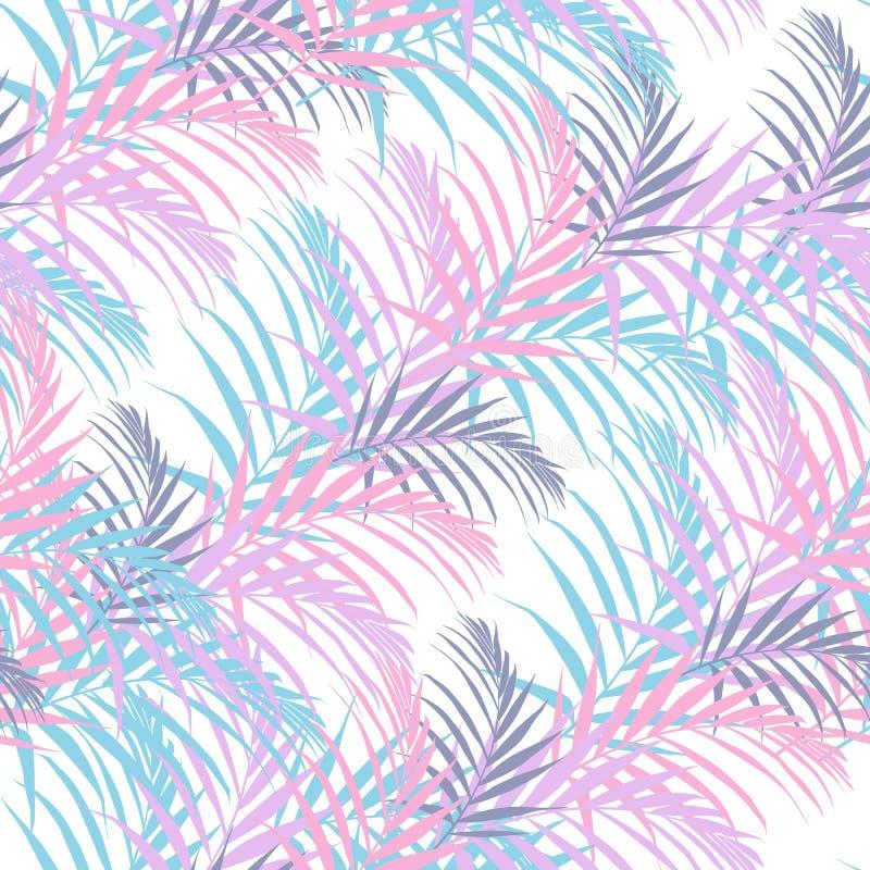 Sätta på land den gladlynta sömlösa modelltapeten av tropiska godis-färg palmblad av palmträd på en vit bakgrund stock illustrationer
