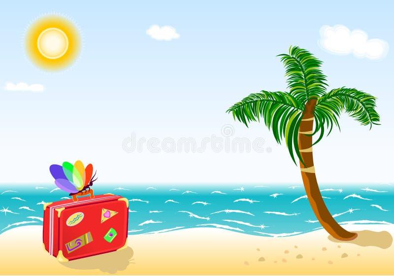 sätta på land feriesommaren för att löpa tropiskt stock illustrationer