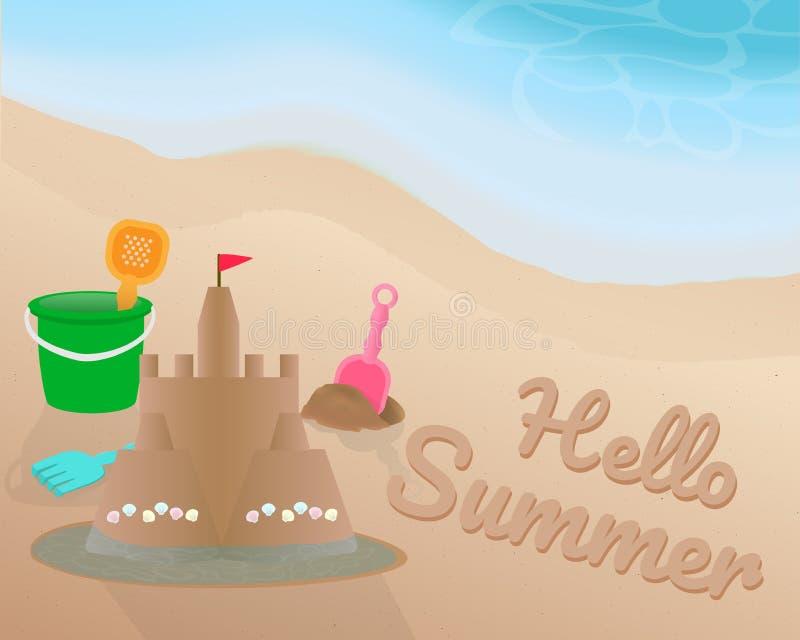 Sätta på land leksaken och sandslotten med skalet och den röda flaggan på strand- och vattensurrounden Hello sommar på sanden med stock illustrationer