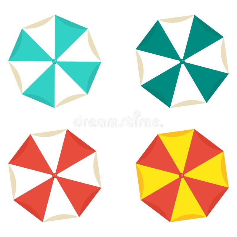 sätta på land ljusa paraplyer stock illustrationer