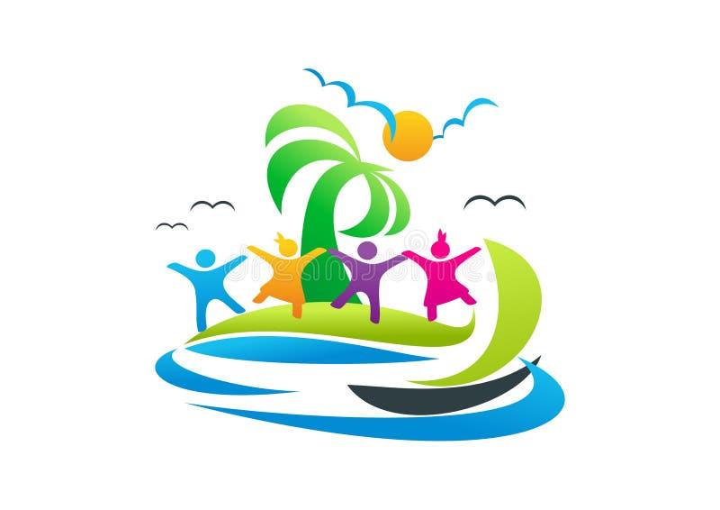 Sätta på land logoen, folksemestersymbolet, loppdesignen och illustrationen för segelbåtvektorsymbol vektor illustrationer