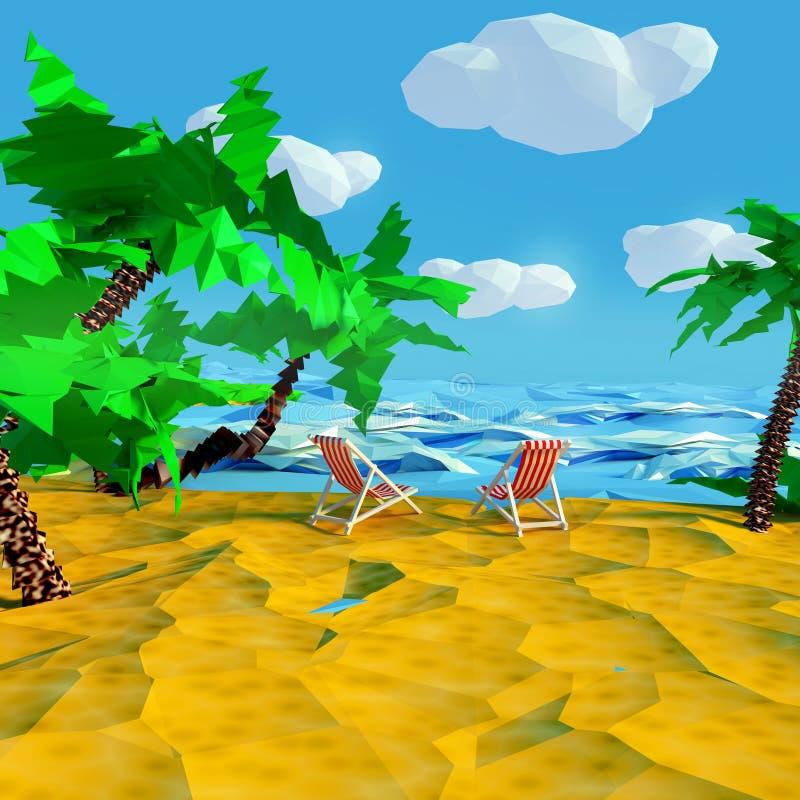 Sätta på land med två vardagsrumstolar och palmträd vid stranden royaltyfri illustrationer