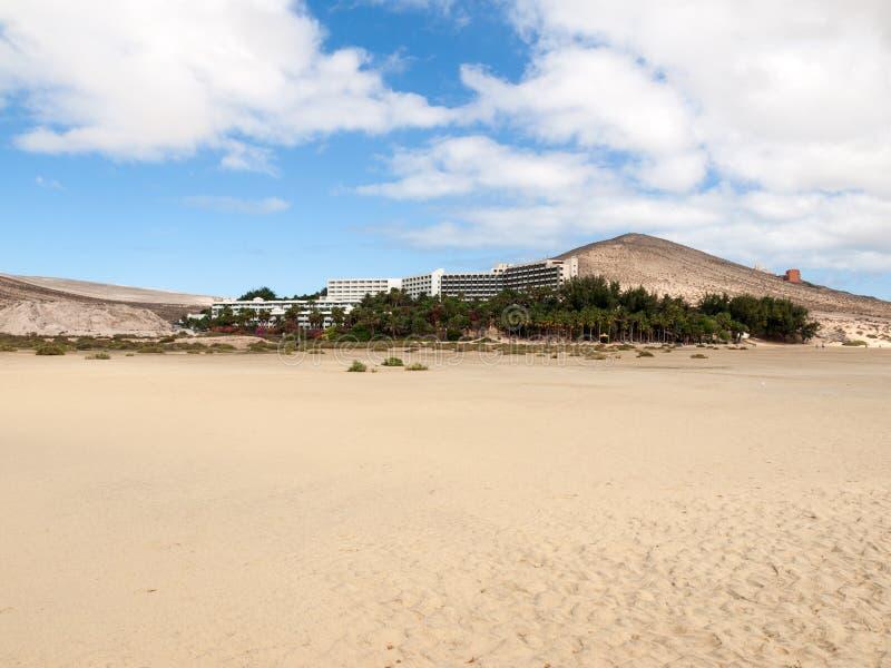 Sätta på land Playa de Sotavento, kanariefågelön Fuerteventura, royaltyfri bild