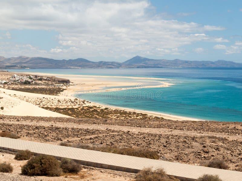 Sätta på land Playa de Sotavento, kanariefågelön Fuerteventura, royaltyfria foton