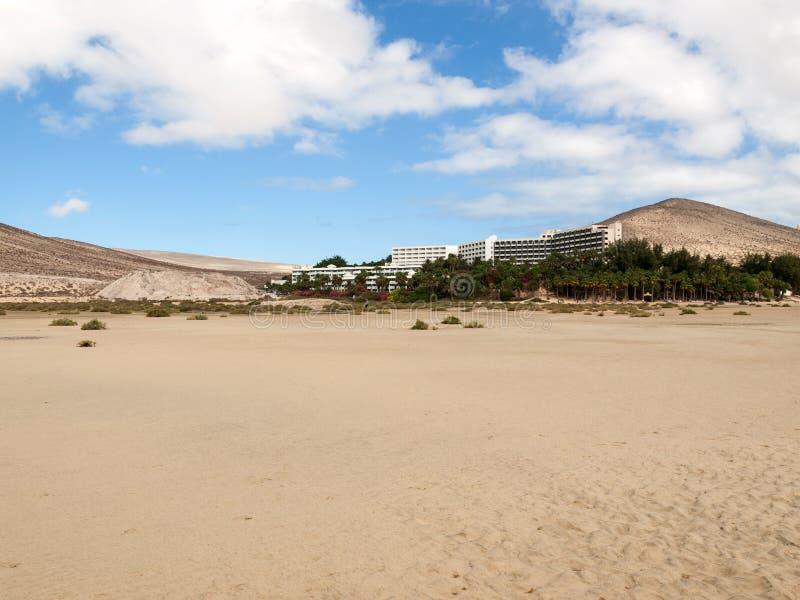 Sätta på land Playa de Sotavento, kanariefågelön Fuerteventura, arkivbild