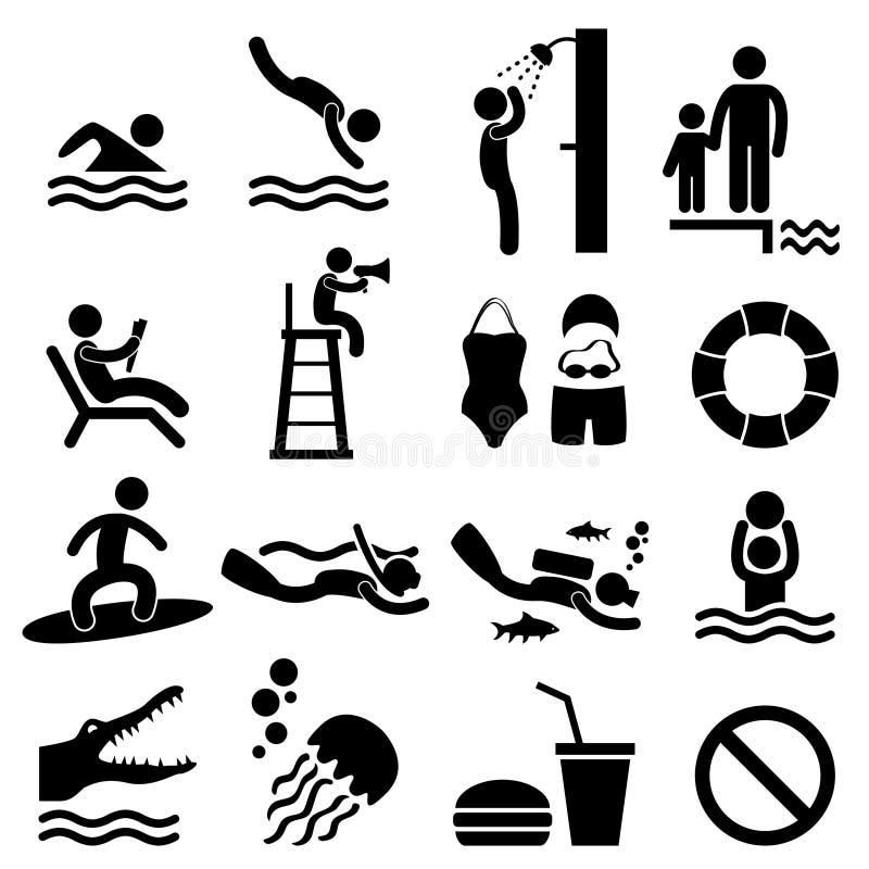 sätta på land symbolet för simning för tecknet för havet för manfolkpölen stock illustrationer