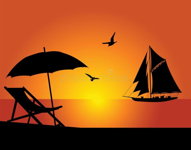 sätta på land yachten stock illustrationer