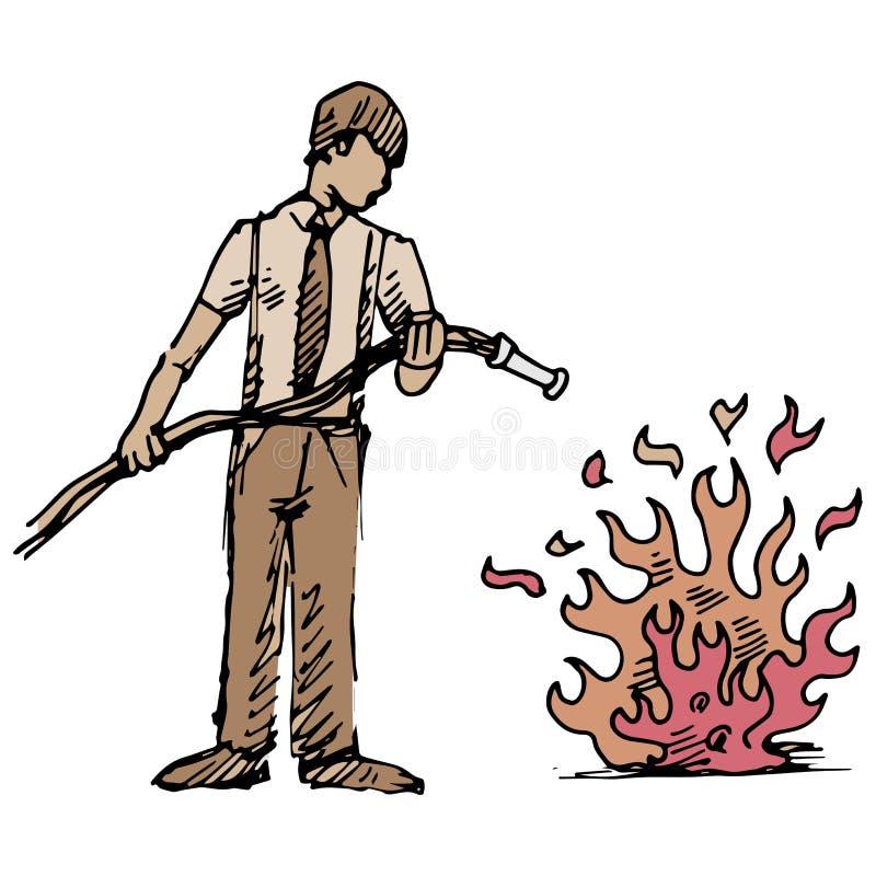 Sätta ut brand vektor illustrationer